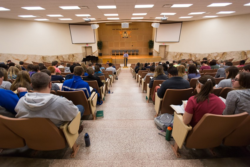Emmaus Bible College Glock Auditorium with students