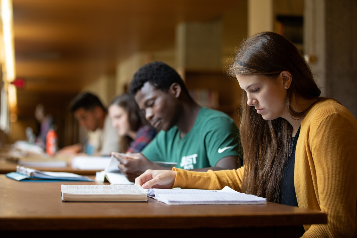 Emmaus students studying in the library