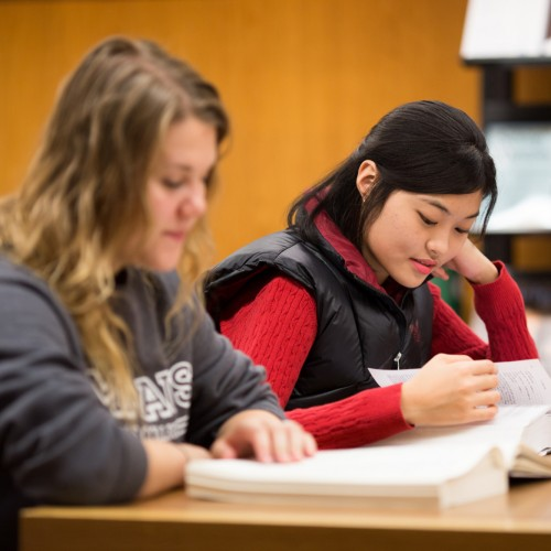 Students studying in the Emmaus library