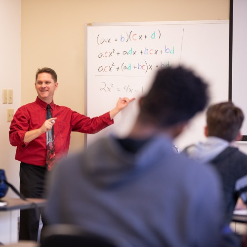 Applied Mathematics faculty, Tim Iverson, teaching class